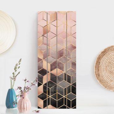 Stampa su legno - Elisabeth Fredriksson - Rosa Grigio d'oro Geometria - Verticale 5:2