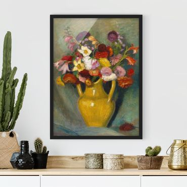 Poster con cornice - Otto Modersohn - Colorful Bouquet In Yellow Clay Jug - Verticale 4:3