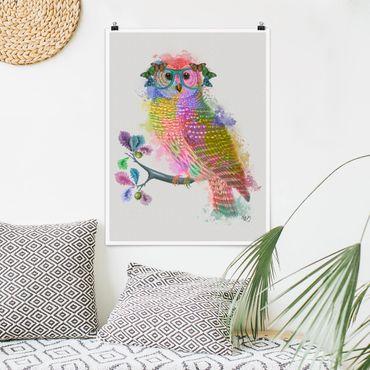 Poster - Arcobaleno Splash Owl - Verticale 4:3