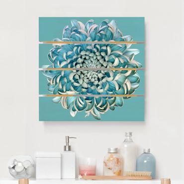Stampa su legno - Blu crisantemo - Quadrato 1:1