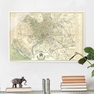 Quadro in vetro - Vintage mappa di Roma antica - Orizzontale 2:3