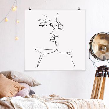 Poster - Line Art bacio Faces Bianco e nero - Quadrato 1:1