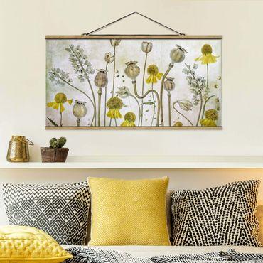 Foto su tessuto da parete con bastone - Papavero e Helenium - Orizzontale 1:2