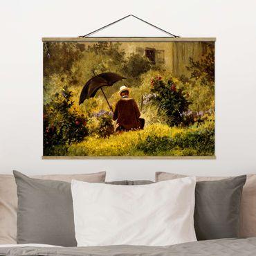 Foto su tessuto da parete con bastone - Carl Spitzweg - Il Pittore In The Garden - Orizzontale 2:3
