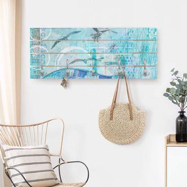 Appendiabiti in legno - Colorato collage - Bluefish - Ganci cromati - Orizzontale