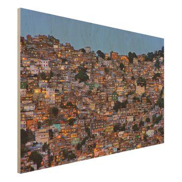 Quadro in legno - Rio De Janeiro favela Sunset - Orizzontale 3:2