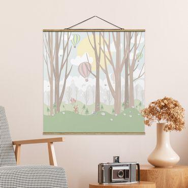 Foto su tessuto da parete con bastone - Sun con alberi e Mongolfiere - Quadrato 1:1