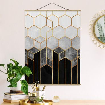 Foto su tessuto da parete con bastone - Elisabeth Fredriksson - Oro esagono Bianco e nero - Verticale 4:3