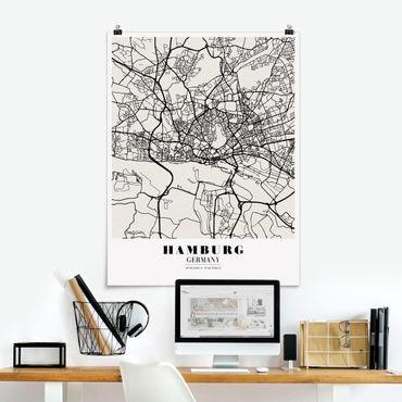 Poster - Mappa Hamburg - Classic - Verticale 4:3