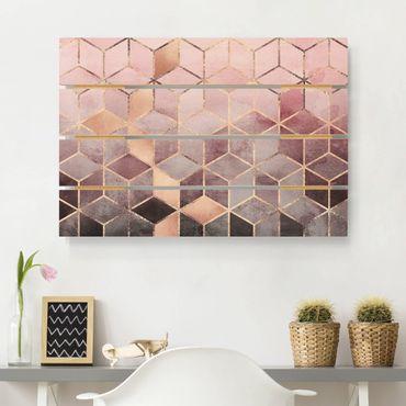 Stampa su legno - Elisabeth Fredriksson - Rosa Grigio d'oro Geometria - Orizzontale 2:3