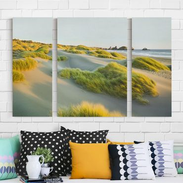 Stampa su tela 3 parti - Dunes And Grasses At The Sea - Trittico