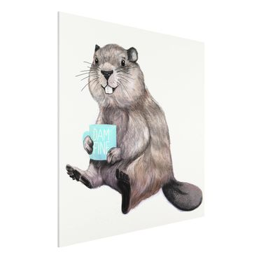 Stampa su Forex - Illustrazione Beaver con tazza di caffè - Quadrato 1:1