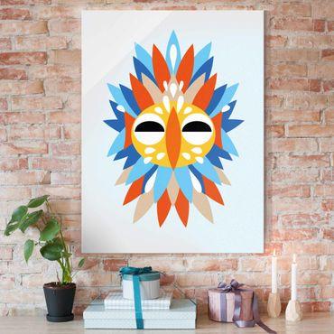 Quadro in vetro - Collage Mask Ethnic - Parrot - Verticale 4:3
