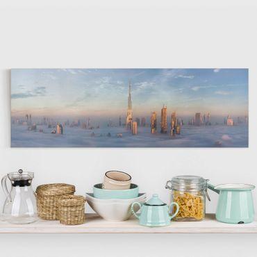 Stampa su tela - Dubai Sopra Le Nuvole - Panoramico