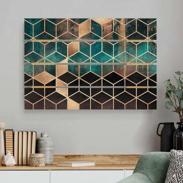 Stampa su legno - Elisabeth Fredriksson - Turchese Rosa d'Oro Geometria - Orizzontale 2:3