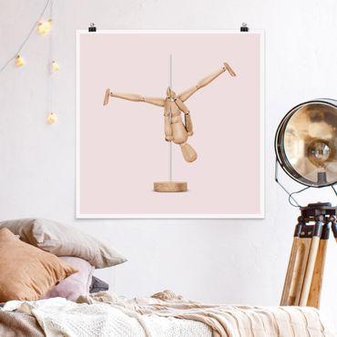 Poster - Pole Dance Con Figura legno - Quadrato 1:1