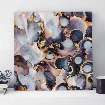 Quadro in vetro - Marmo Acquerello con oro - Quadrato 1:1