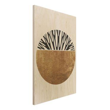 Stampa su legno - Forme astratte - cerchio dorato - Verticale 3:2