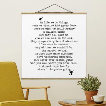 Quadro su tessuto con stecche per poster - In Life facciamo le cose - Quadrato 1:1