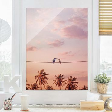 Quadro in vetro - Tramonto Con Hummingbird - Verticale 4:3