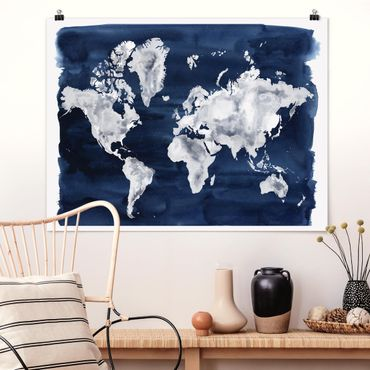 Poster - Water World Map scuro - Orizzontale 3:4