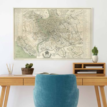 Stampa su tela - Vintage mappa di Roma antica - Orizzontale 2:3