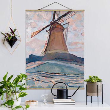 Foto su tessuto da parete con bastone - Piet Mondrian - Windmill - Verticale 4:3