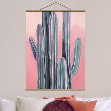 Foto su tessuto da parete con bastone - Cactus su rosa I - Verticale 4:3