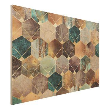 Stampa su legno - Turquoise Geometria Golden Art Deco - Orizzontale 2:3