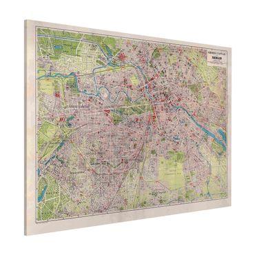 Lavagna magnetica - Vintage Mappa Berlino - Formato orizzontale 3:4