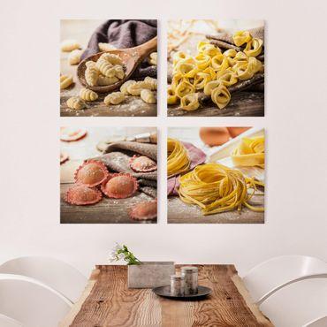 Quadro su tela in 4 parti - Pasta fresca: gnocchi, tortellini, girasoli e tagliatelle