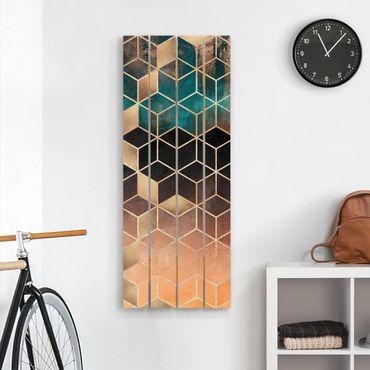 Stampa su legno - Elisabeth Fredriksson - Turchese Rosa d'Oro Geometria - Verticale 5:2