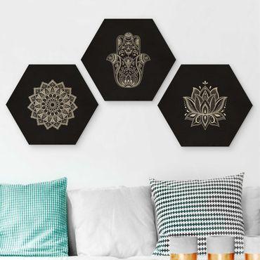 Esagono in legno - Mandala mano di Hamsa Lotus Set To Black