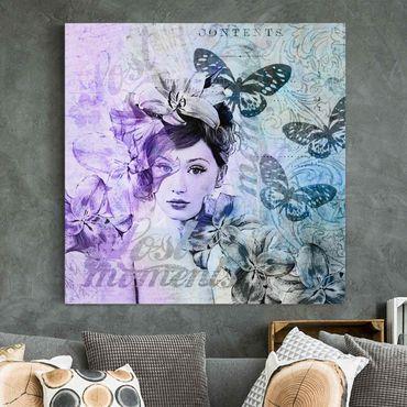 Stampa su tela - Shabby Chic Collage - Ritratto Con Le Farfalle - Quadrato 1:1