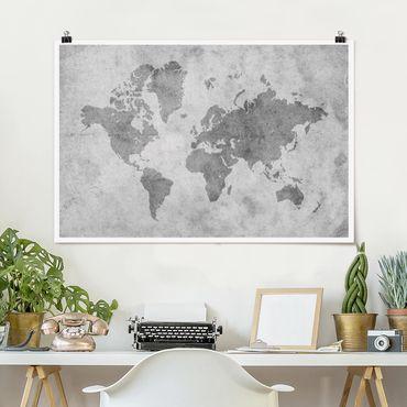Poster - Vintage Mappa del mondo II - Orizzontale 2:3