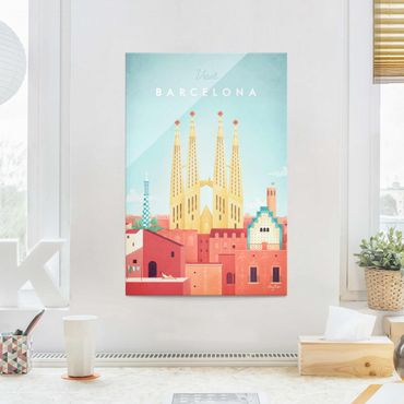 Quadro in vetro - Poster viaggio - Barcellona - Verticale 3:2