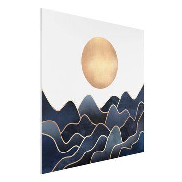 Stampa su Forex - Golden Sun Blue Waves - Quadrato 1:1