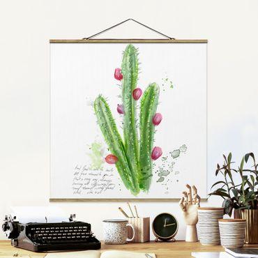 Foto su tessuto da parete con bastone - Cactus Con Bible Verses II - Quadrato 1:1