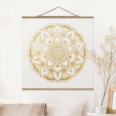 Foto su tessuto da parete con bastone - Mandala Fiore Oro Bianco - Quadrato 1:1