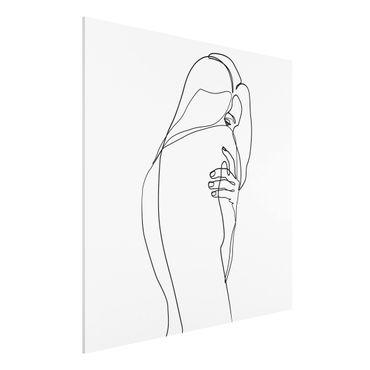 Stampa su Forex - Line Art Nudo spalla Bianco e nero - Quadrato 1:1