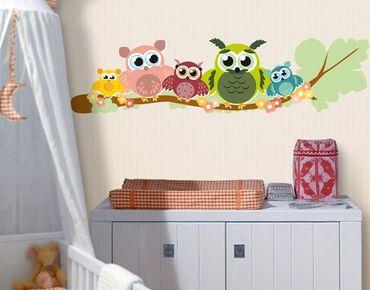 Adesivo murale no.CG216 Owlfamily 130x33cm