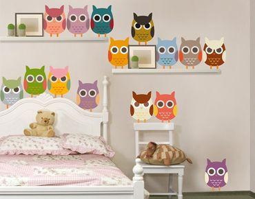 Adesivo murale no.EK147 Owl Parade Set II