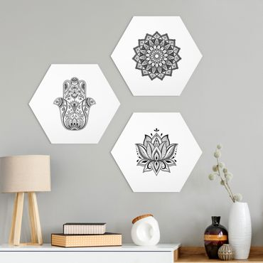 Esagono in Alu-dibond - Set Mandala mano di Hamsa Lotus On White