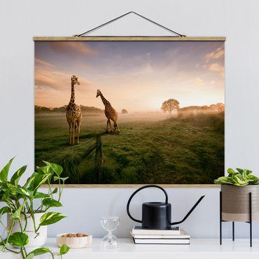 Foto su tessuto da parete con bastone - surreale Giraffe - Orizzontale 3:4