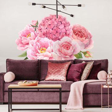 Adesivo murale - Acquerello Hydrangea Rose Bouquet XXL