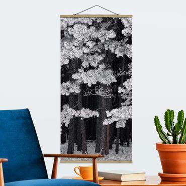 Foto su tessuto da parete con bastone - Foresta Con brina in Austria - Verticale 2:1