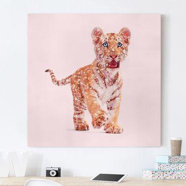Stampa su tela - Tiger con glitter - Quadrato 1:1