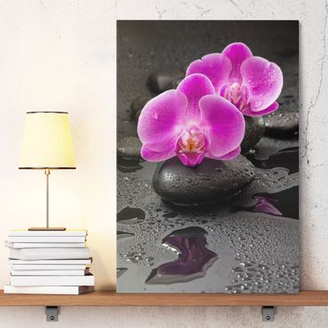 Stampa su tela - Pink Orchid Fiori Sulle Pietre Con Le Gocce - Verticale 3:2