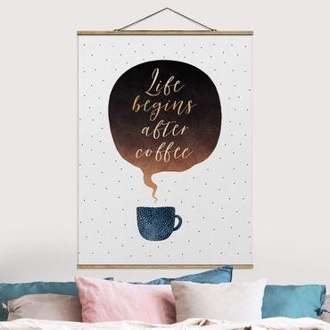Foto su tessuto da parete con bastone - Elisabeth Fredriksson - La vita inizia dopo i punti di caffè - Verticale 4:3