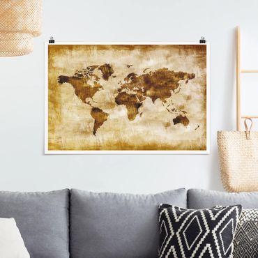 Poster - No.Cg75 Mappa Del Mondo - Orizzontale 2:3